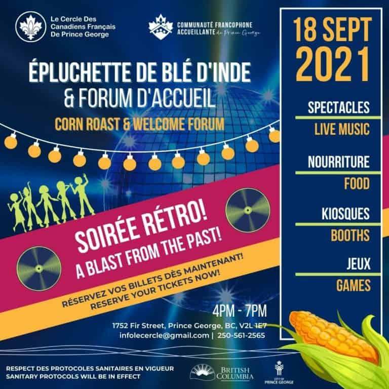 affiche pour épluchette de blé d'inde le 18 septembre 2021 à 4h à PG